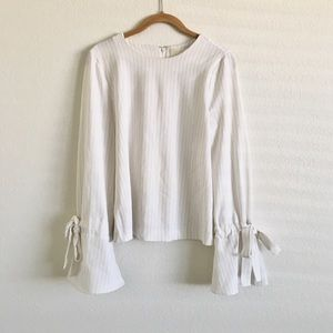 J.O.A. White Striped Bell Cuff Blouse